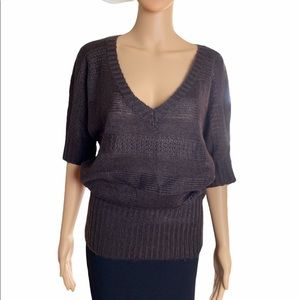 Ambiance Short Sleeved V Neck Sweater Brown Size M